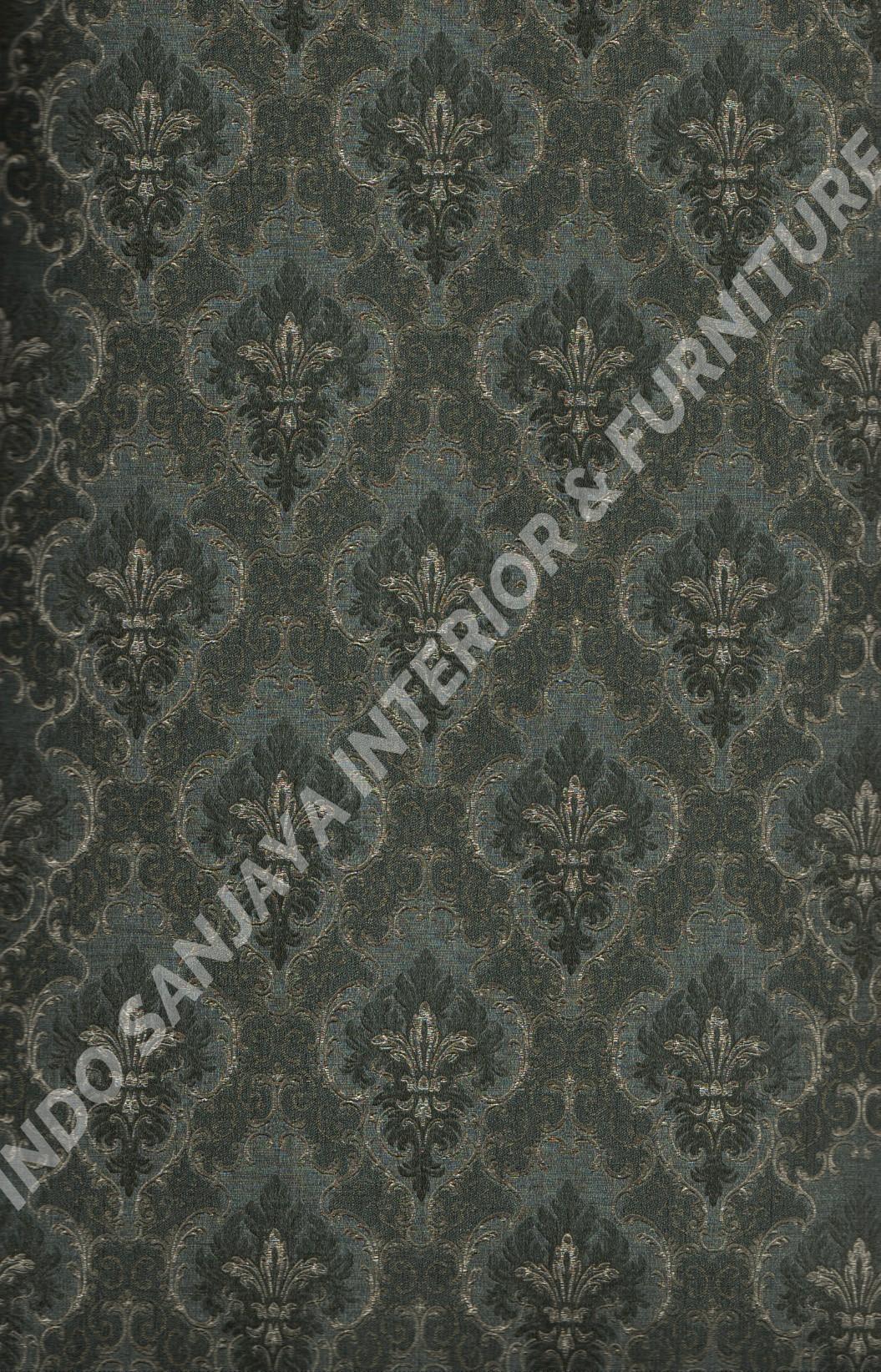 wallpaper CASABENE:2573-8 corak Klasik / Batik (Damask) warna Hitam ,Hijau