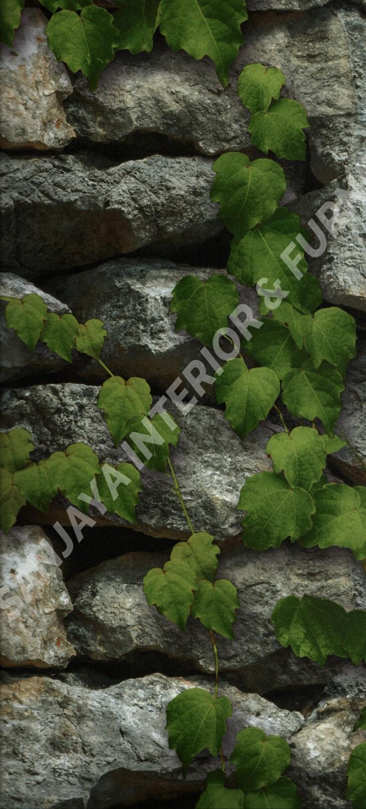wallpaper ASSEMBLE:40106-1 corak Batu-Batuan ,Daun - Daunan warna Abu-Abu ,Hijau
