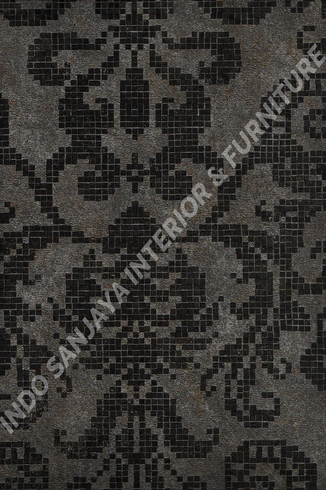 wallpaper MOKO:3021 corak Bunga ,Klasik / Batik (Damask) warna Abu-Abu ,Hitam