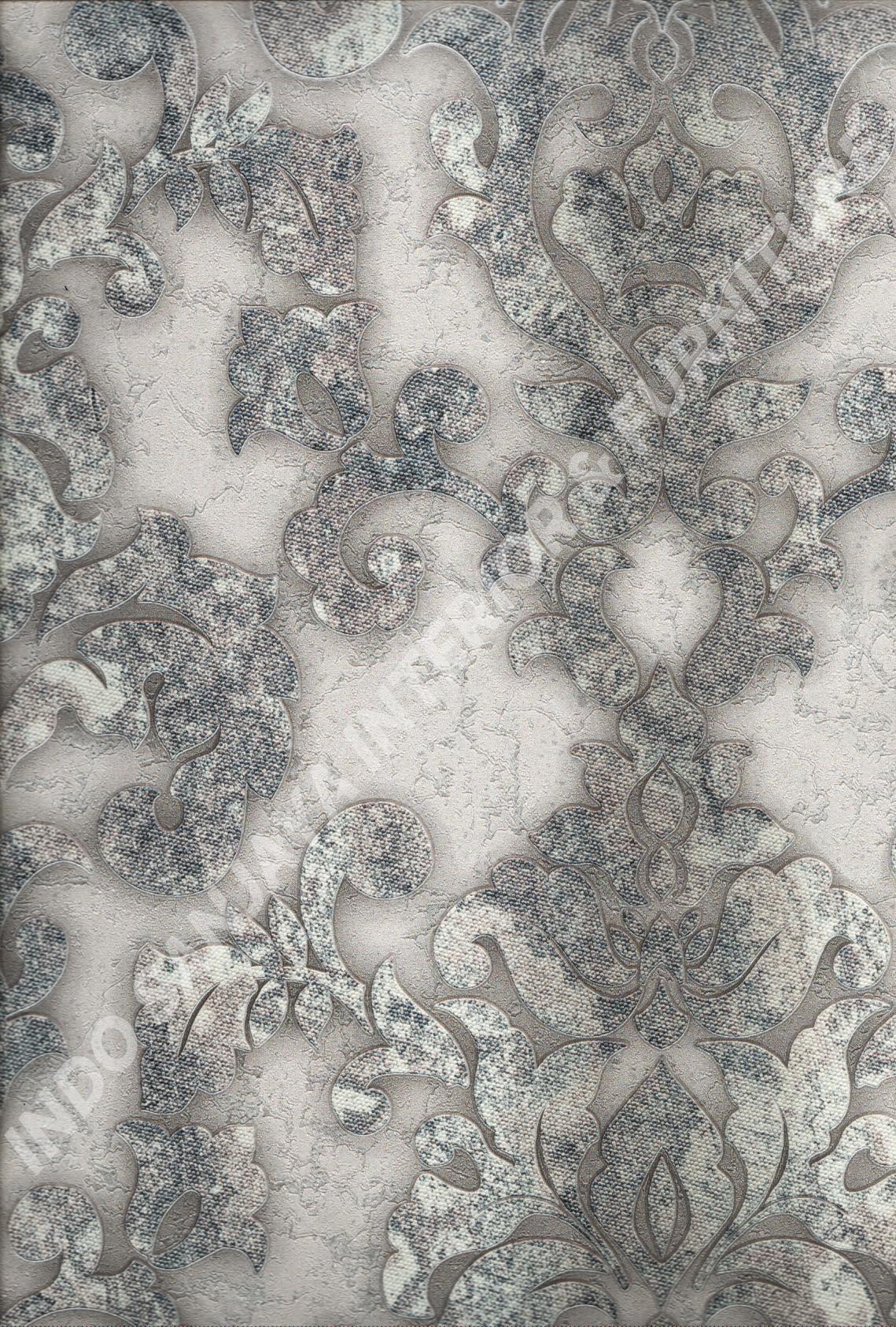 wallpaper MOKO:3007 corak Bunga ,Klasik / Batik (Damask) warna Abu-Abu ,Cream