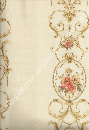 wallpaper CHLOE:LG581201 corak Bunga ,Klasik / Batik (Damask) warna Cream