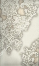 wallpaper LEVANTE:L444-25 corak Klasik / Batik (Damask) warna Abu-Abu,Cream