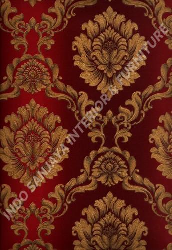 wallpaper LEVANTE:L444-50 corak Klasik / Batik (Damask) warna Merah ,Coklat