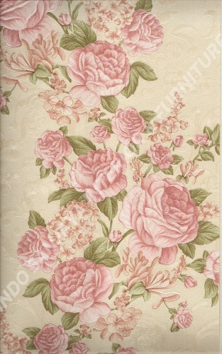 wallpaper LEVANTE:L444-52 corak Bunga warna Merah ,Cream ,Pink