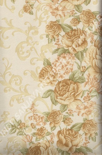wallpaper LEVANTE:L444-59 corak Bunga warna Cream ,Coklat