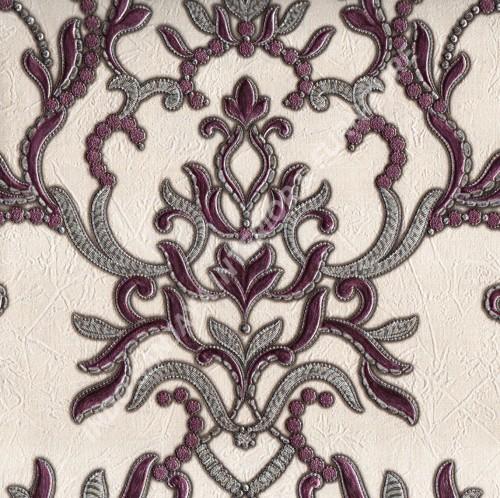 wallpaper GLAMOR:99090601 corak Klasik / Batik (Damask) warna Abu-Abu