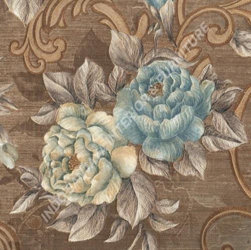 wallpaper GLAMOR:99010704 corak Bunga ,Klasik / Batik (Damask) warna Coklat