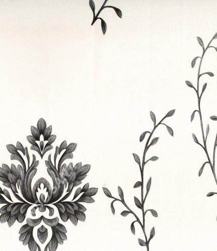 wallpaper MADONA:MD8034 corak Bunga ,Klasik / Batik (Damask) warna Putih