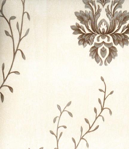 wallpaper MADONA:MD8032 corak Bunga ,Klasik / Batik (Damask) warna Putih