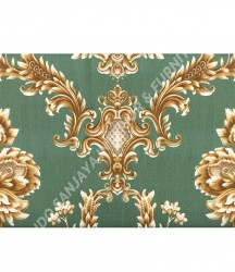 wallpaper MADONA:MD3505 corak Klasik / Batik (Damask) warna Hijau,Cream