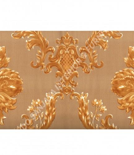 wallpaper MADONA:MD3503 corak Klasik / Batik (Damask) warna Hijau ,Cream