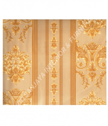 wallpaper MADONA:MD3533 corak Klasik / Batik (Damask) warna Hijau ,Cream