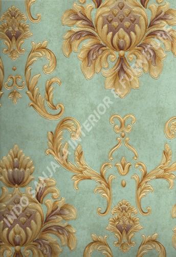 wallpaper MELBOURNE:HR-16126 corak Klasik / Batik (Damask) warna Biru ,Coklat