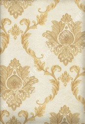 wallpaper LEVANTE:L444-11 corak Klasik / Batik (Damask) warna Cream,Coklat