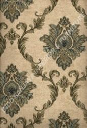 wallpaper LEVANTE:L444-19 corak Klasik / Batik (Damask) warna Hijau,Cream