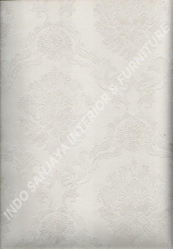 wallpaper LEVANTE:L444-45 corak Klasik / Batik (Damask) warna Putih ,Abu-Abu