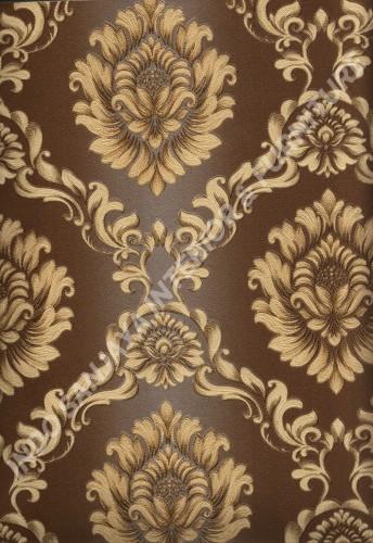 wallpaper LEVANTE:L444-48 corak Klasik / Batik (Damask) warna Kuning ,Cream ,Coklat