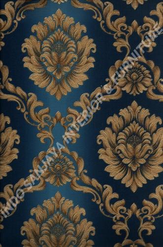 wallpaper LEVANTE:L444-49 corak Klasik / Batik (Damask) warna Biru ,Coklat