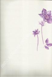 wallpaper LEVANTE:L444-54 corak Bunga warna Putih,Abu-Abu,Ungu