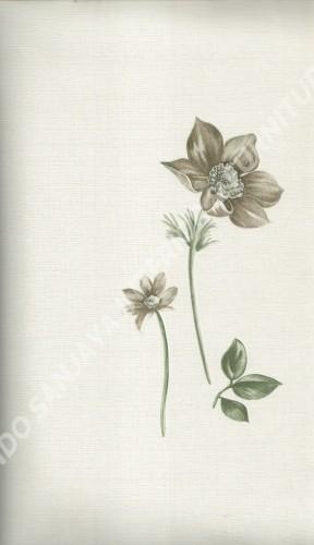 wallpaper LEVANTE:L444-64 corak Bunga warna Putih ,Abu-Abu