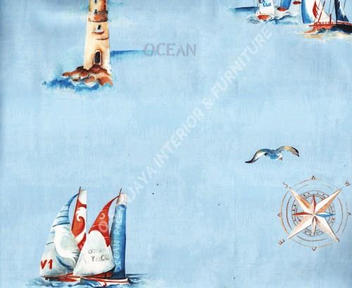 wallpaper Happy Kids:KH-01 corak Anak warna Putih ,Biru