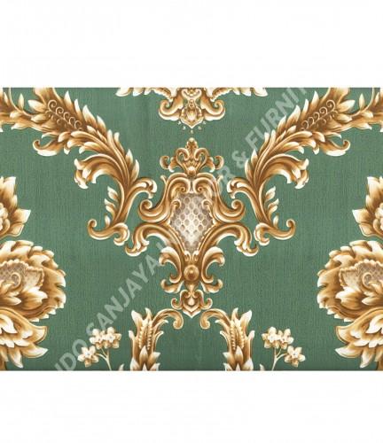 wallpaper MADONA:MD3505 corak Klasik / Batik (Damask) warna Hijau ,Cream