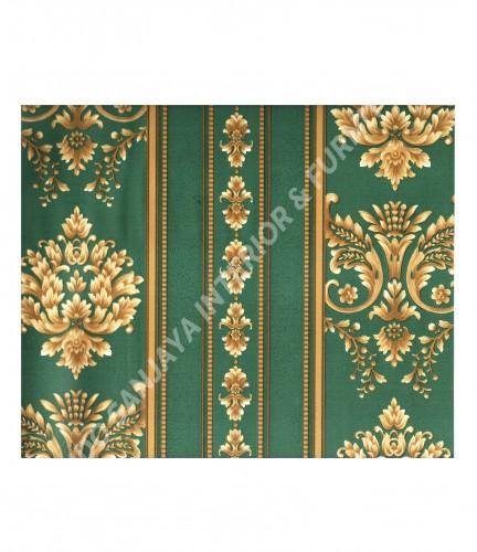 wallpaper MADONA:MD3535 corak Klasik / Batik (Damask) warna Hijau ,Cream
