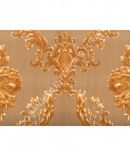 wallpaper MADONA:MD3503 corak Klasik / Batik (Damask) warna Hijau ,Cream